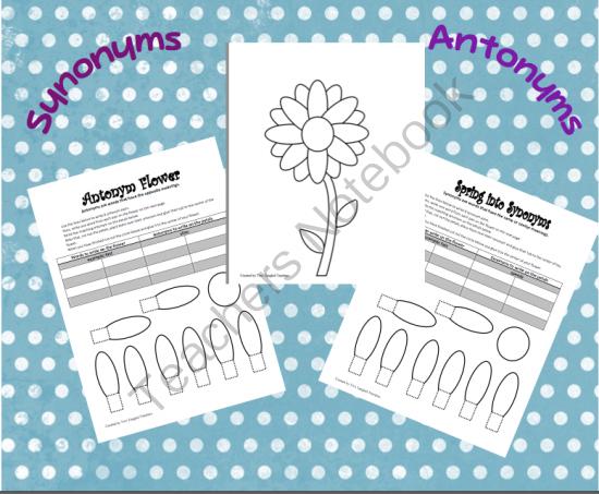Teachers Notebook Synonyms and antonyms, Antonym