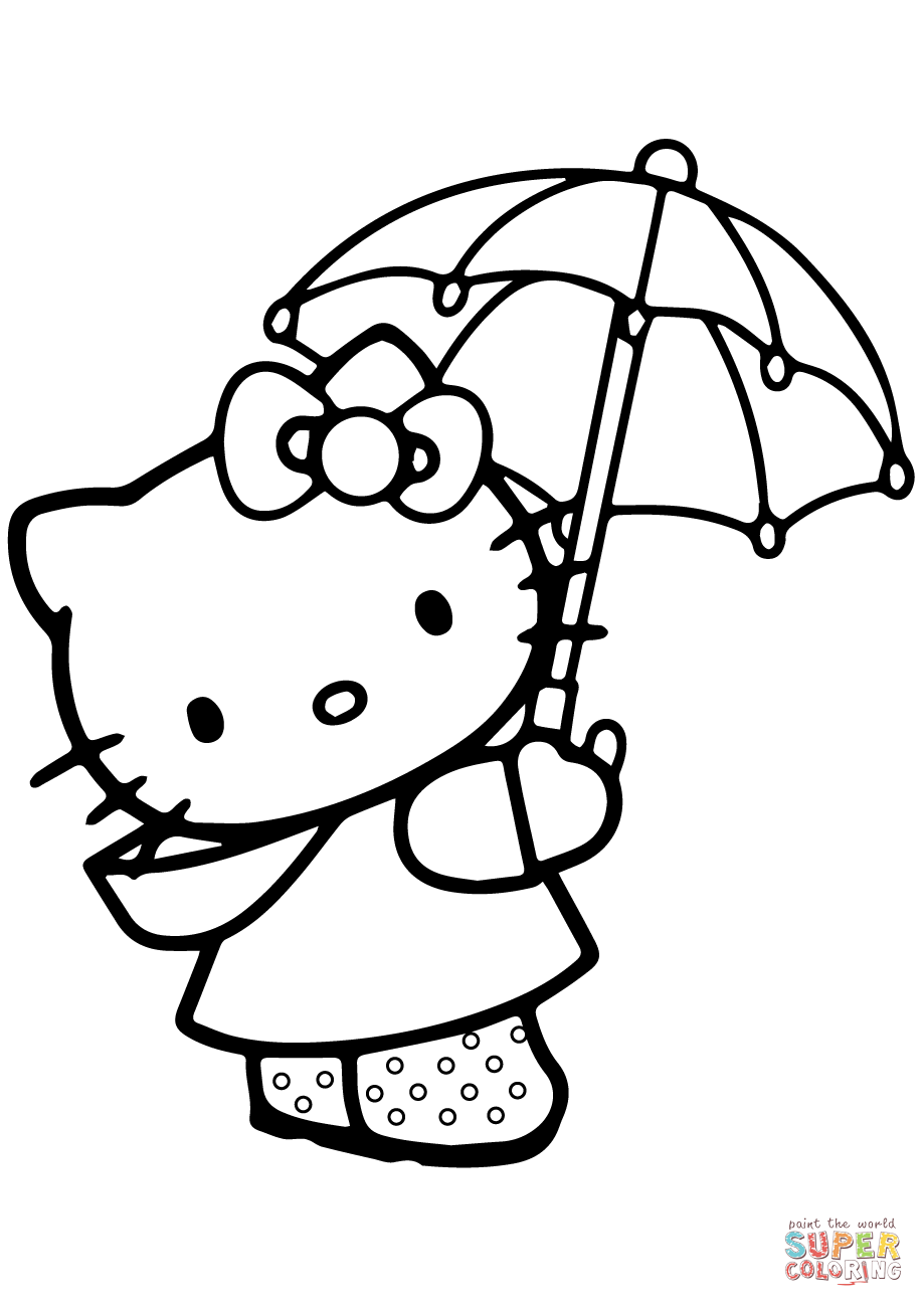 Lovely Hello Kitty Under The Umbrella Coloring Page Free Printable Coloring Pages Hello Kitty Coloring Hello Kitty Drawing Kitty Coloring