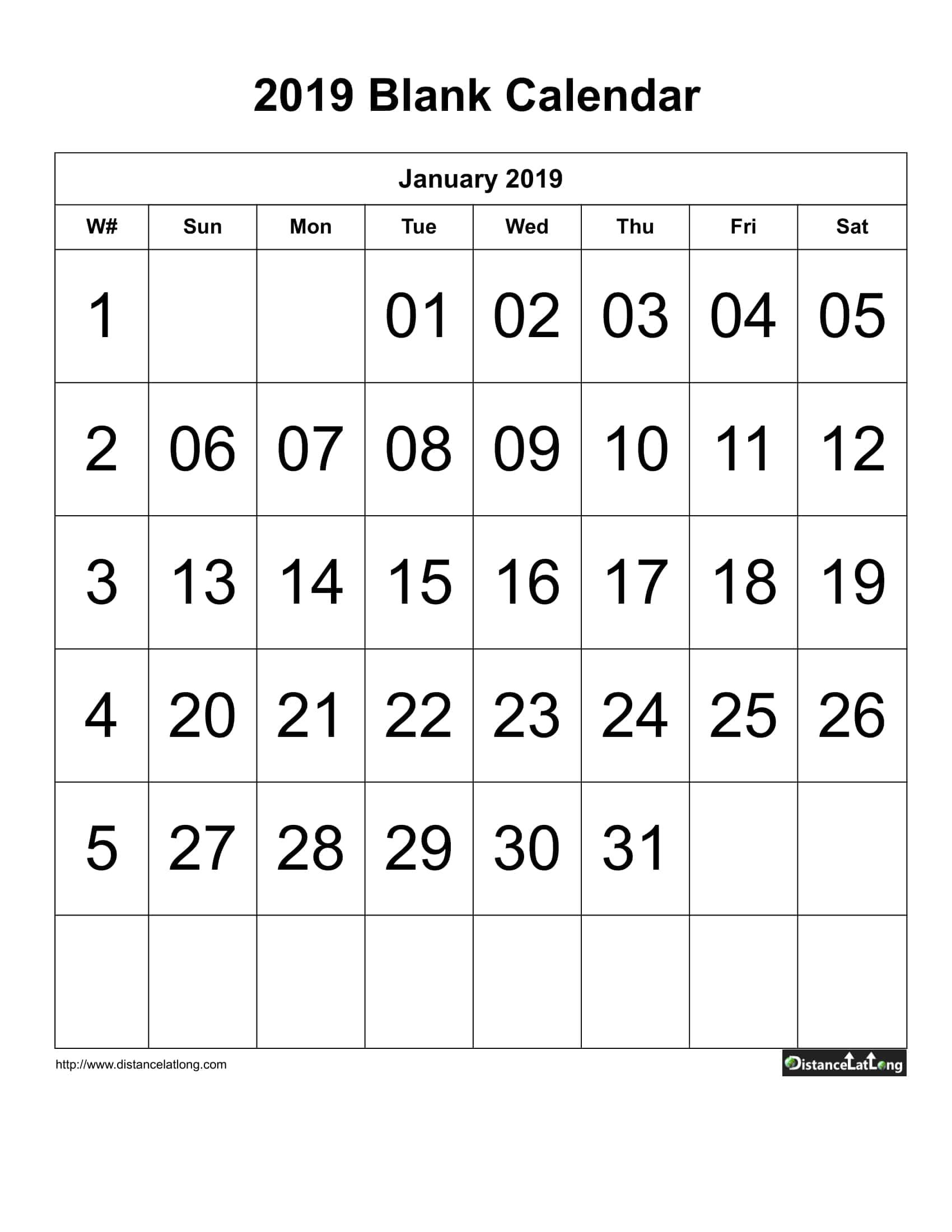 Blank Calendar with large font center align 2019 one month