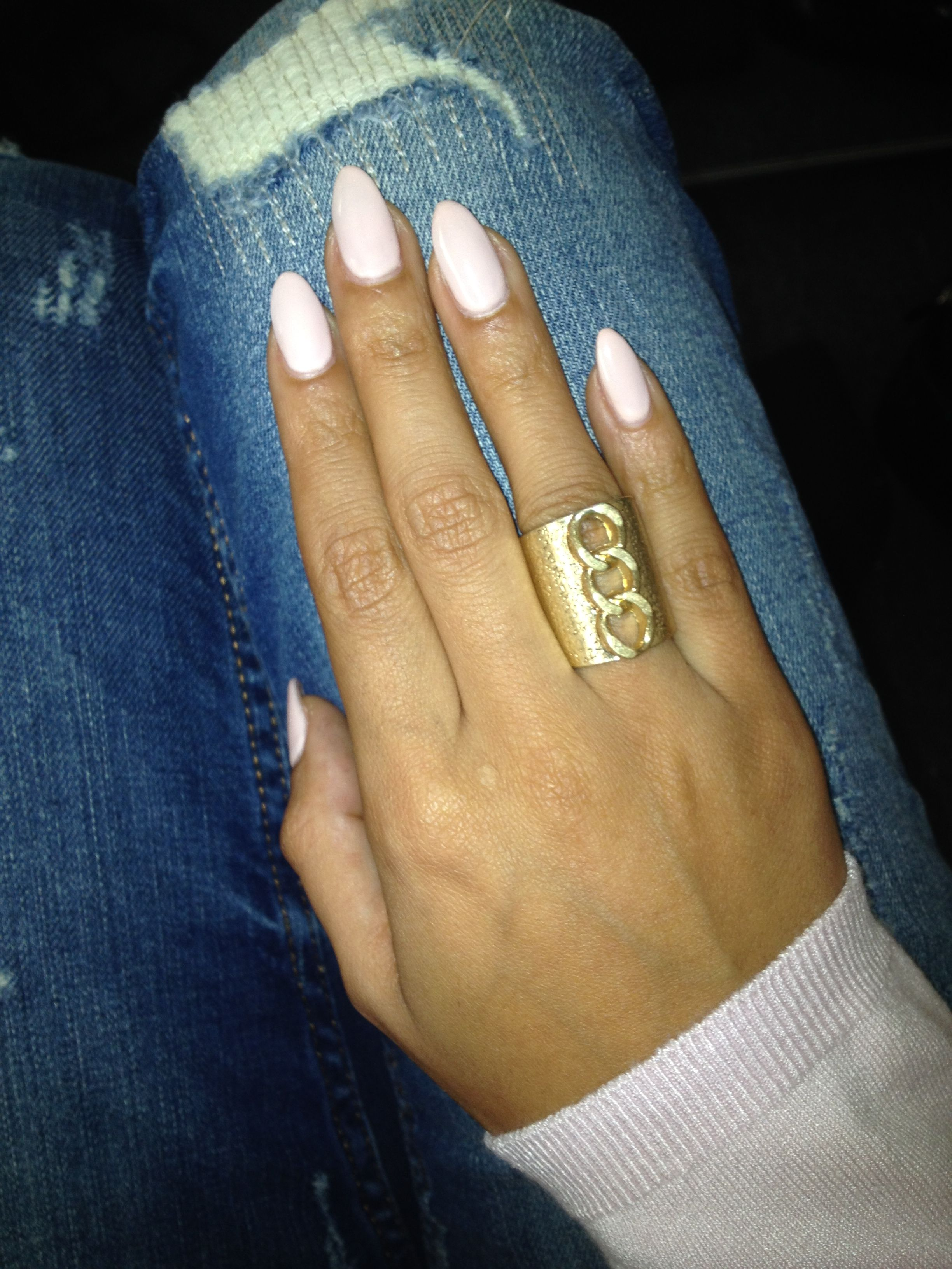 Nude pointy nails...I don\'t really like pointy nails but these are ...