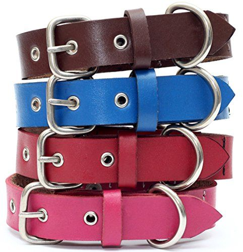 Genuine Leather Dog Collar With Stainless Steel Buckle And Double