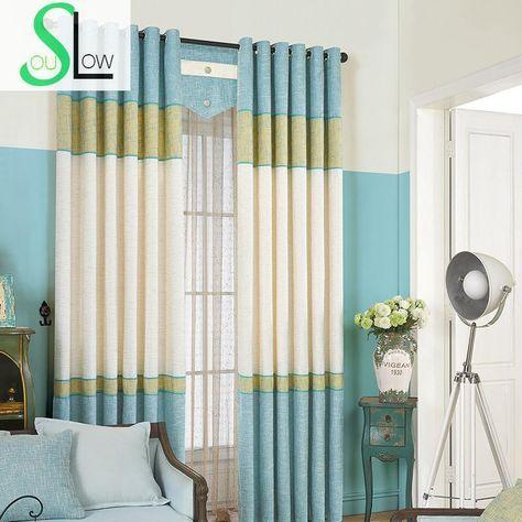 Günstige Blau Vorhang Tuch Italien Baumwollnähende Blackout - vorhange wohnzimmer blau