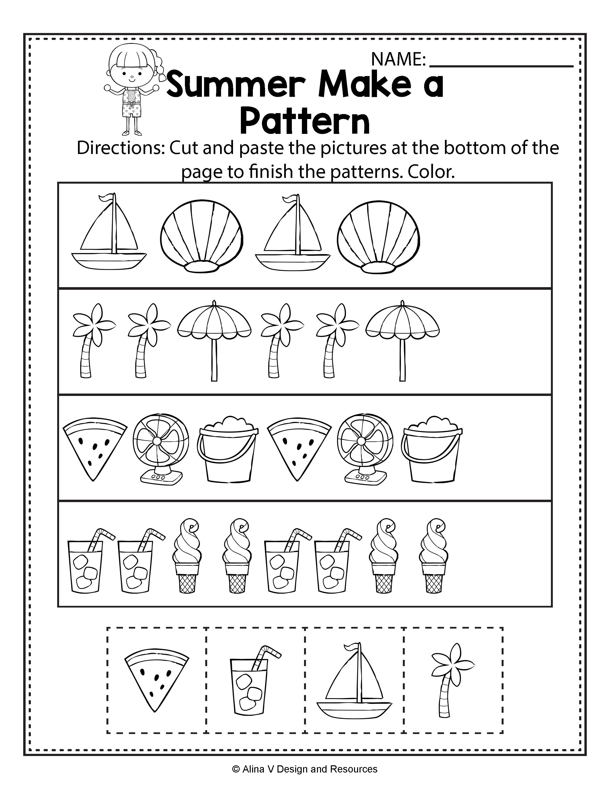 Make A Pattern Summer Math Worksheets And Activities For Preschool Kindergarten And 1st Grade Rhyming Worksheet Summer Math Worksheets Preschool Worksheets
