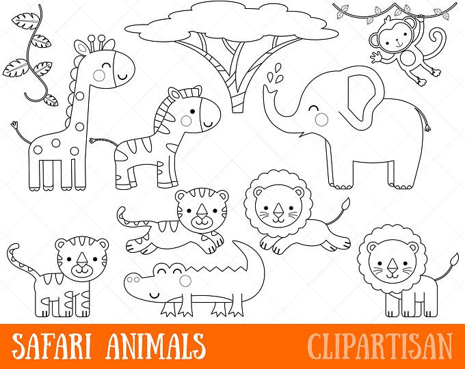 Woodland Animals Digital Stamp Line Art Eps Vector Graphics Coloring Page Safari Baby Animals Animal Clipart Animal Coloring Pages