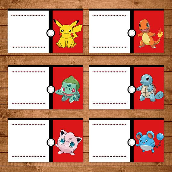 Pokemon Food Tent Labels Red & White