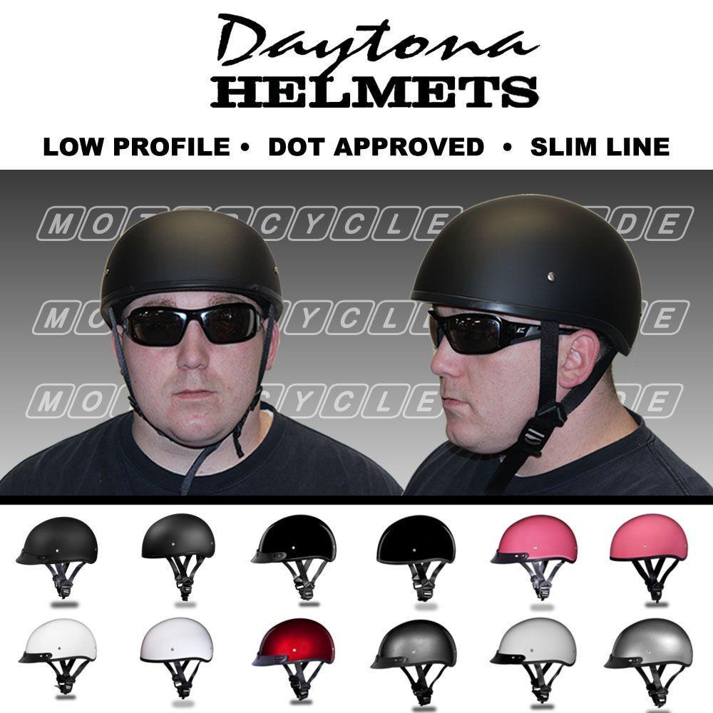 DOT Approved Low Profile Grey Skull Gloss Black Motorcycle Half Helmet Biker
