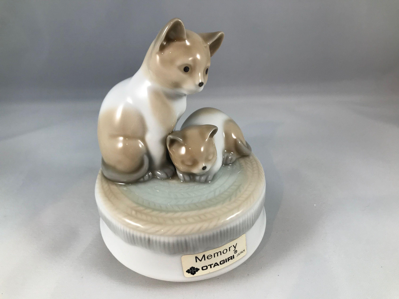 Vtg Otagiri Japan Porcelain Music Box | 1970's | Two Brown and White Kittens | Plays Memory | Cat Figurines #whitekittens
