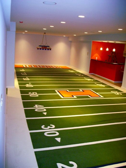 Great example of what my diy football field rug would look like (except  Bengals themed) 60 foot custom sports carpet football field.