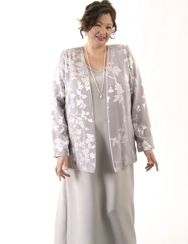 Plus Size Mother Bride Formal Jacket Silk Diamante Silver ...