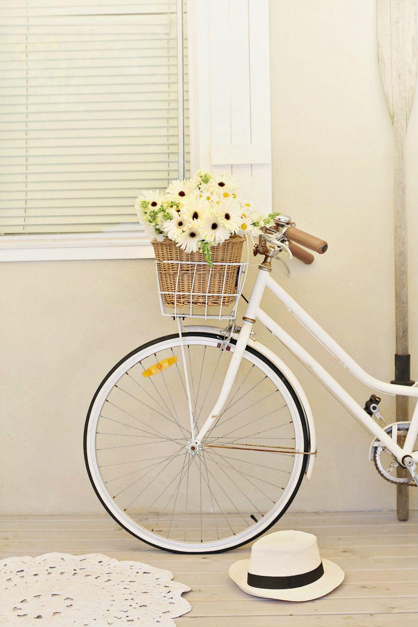 a resolution and a white vintage bike | Fahrräder, Körbchen und Blumen