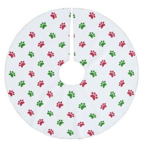 Red Green Dog Paws Christmas Tree Skirt