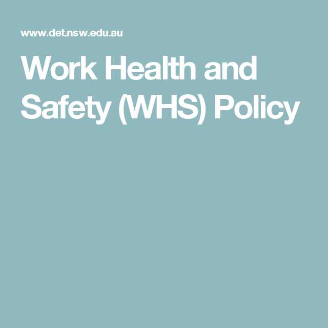 Work Health And Safety Whs Policy  ChildrenS Health And Safety