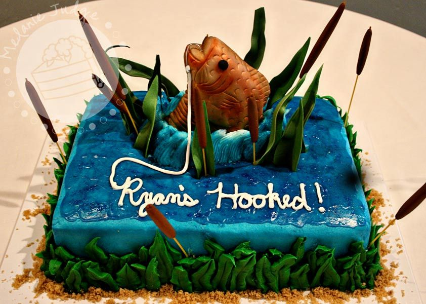 Jumping Fish Cake With Images Grooms Cake Fishing Groomsman