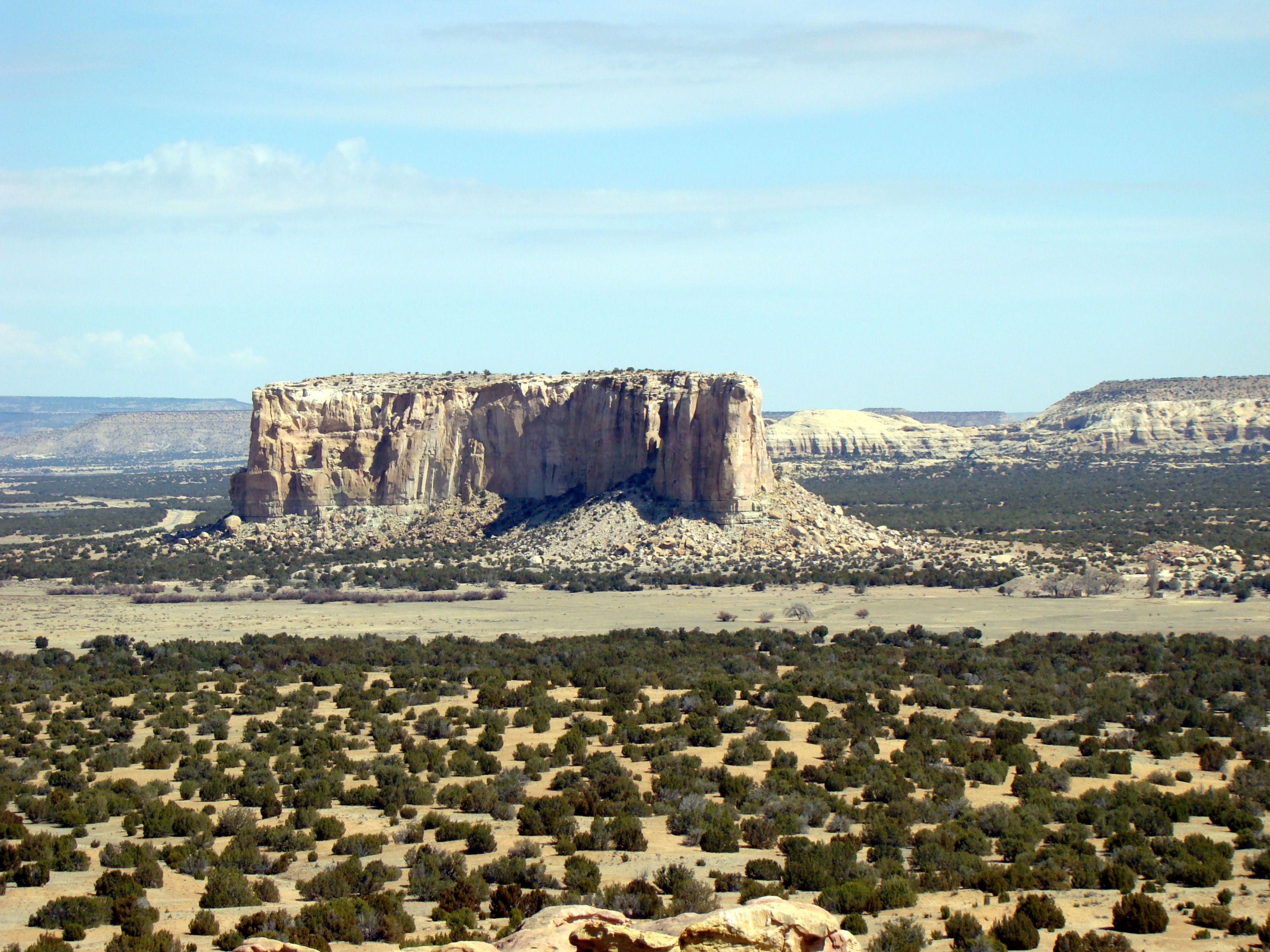Acoma Pueblo -Sky City- It sits on a mesa high above a vast plain ...