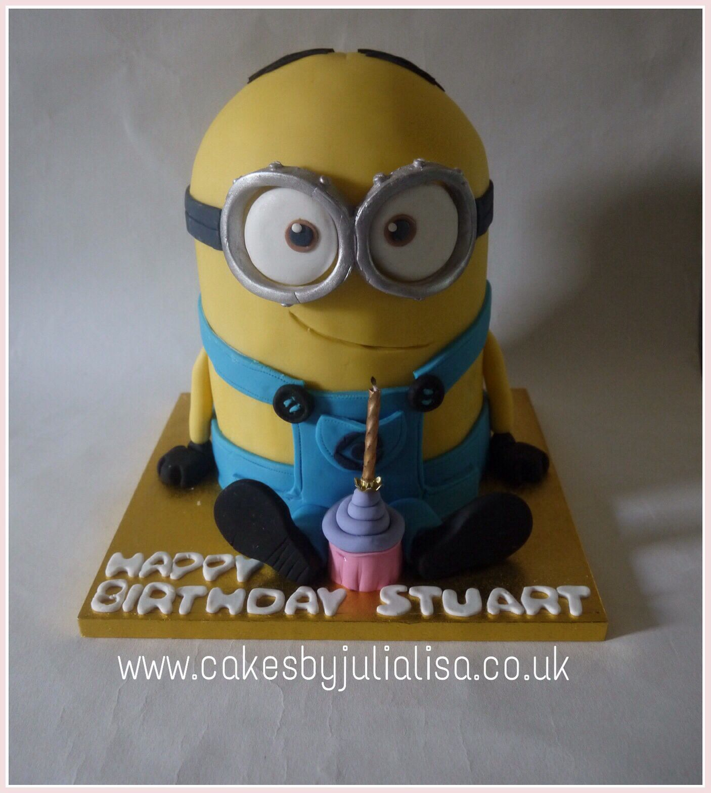 Minion Dave birthday cake made from a rich chocolate cake