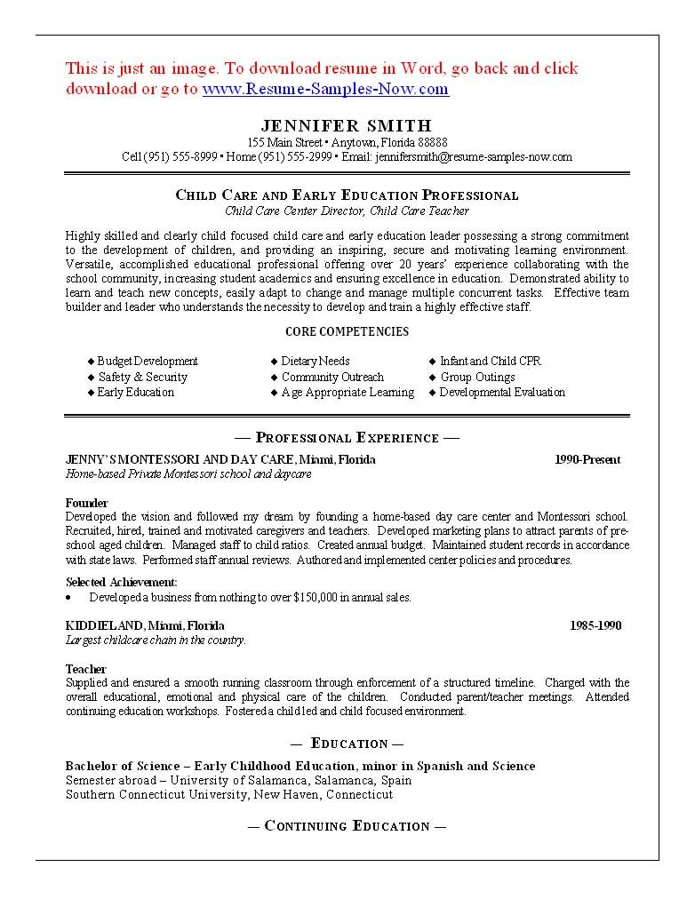 11 Child Care Sample Resume Best | Riez Sample Resumes