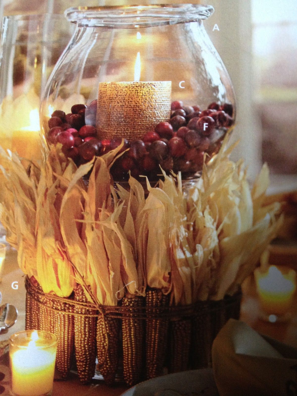 Indian corn center piece - love this idea for a large ...