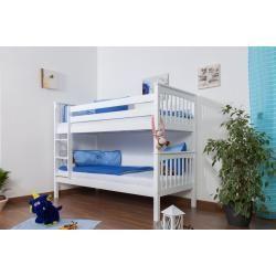 Photo of Kinderbett Etagenbett Mario Buche Vollholz massiv weiß lackiert inkl. Rollrost – 90 x 200 cm, teilba
