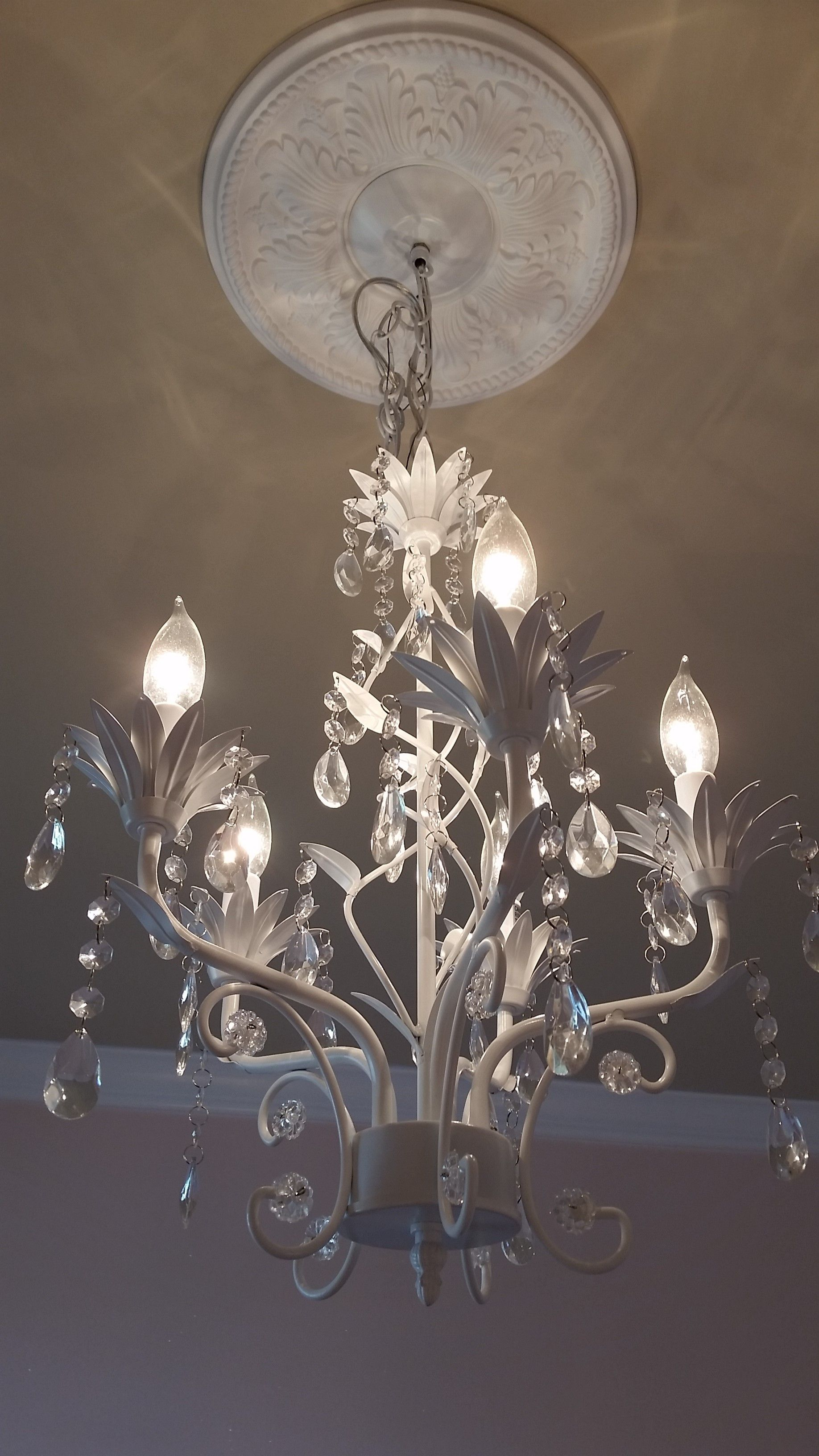 Baby Girl Room Conversion Chandelier with Medallion pletion