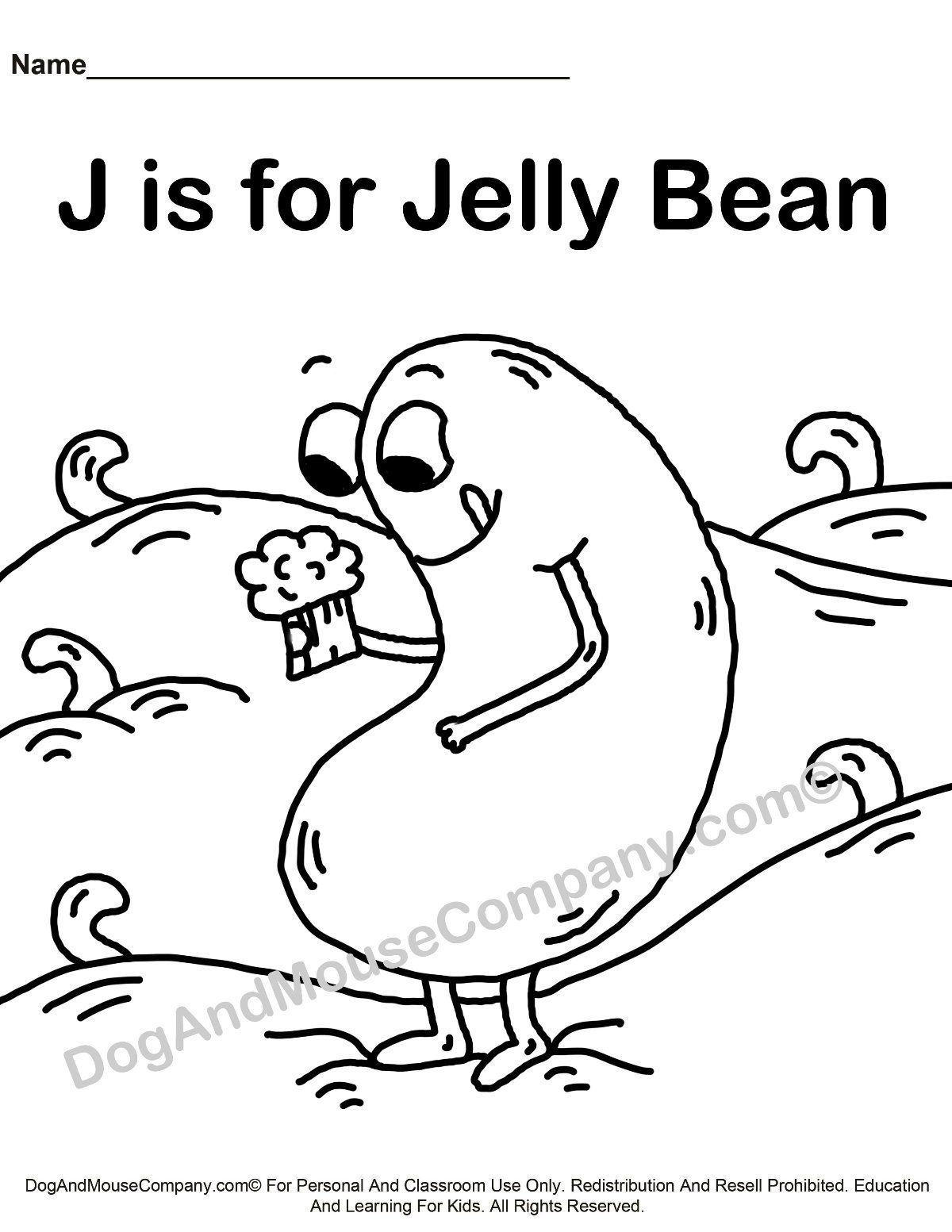 J Is For Jelly Bean Coloring Page