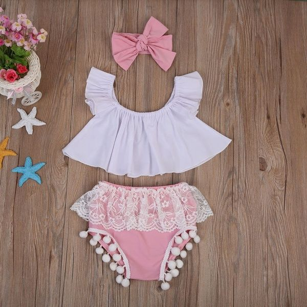 3Pcs Newborn Baby Girl Top+Pink Lace Shorts Headband Sunsuit Outfits Clothes