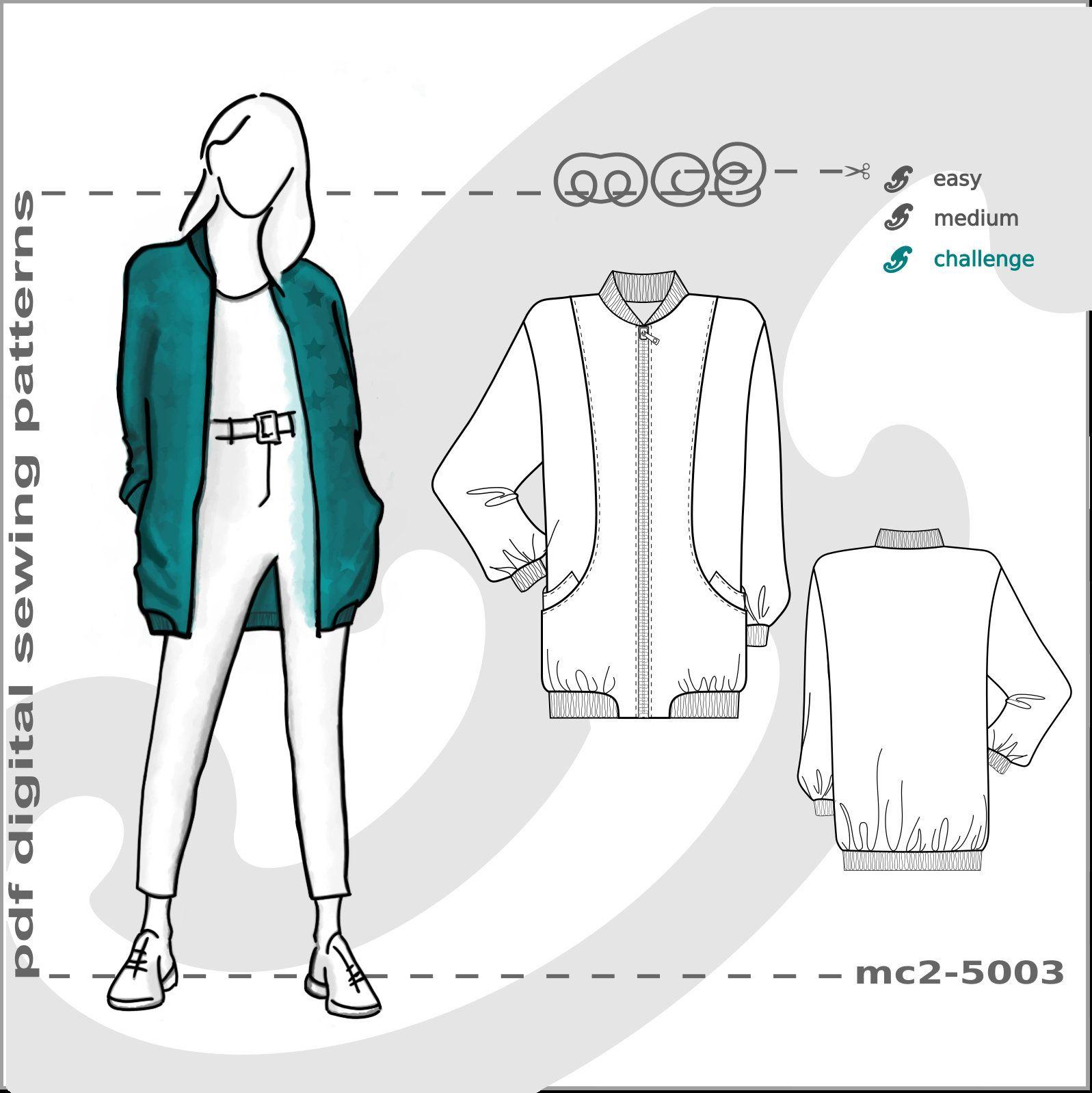 S M L Xl 2xl Bomber Jacket Hip Length Digital Pdf Sewing Pattern For Women Mc2patterns Mc2 5003 By Mc2p Jacket Pattern Sewing Bomber Jacket Trending Outfits [ 1598 x 1597 Pixel ]