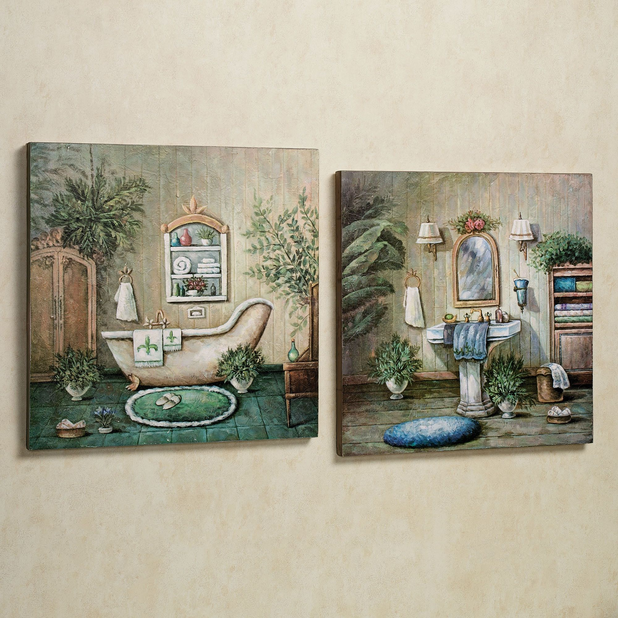 Blissful Bath Wooden Wall Art Plaque Set