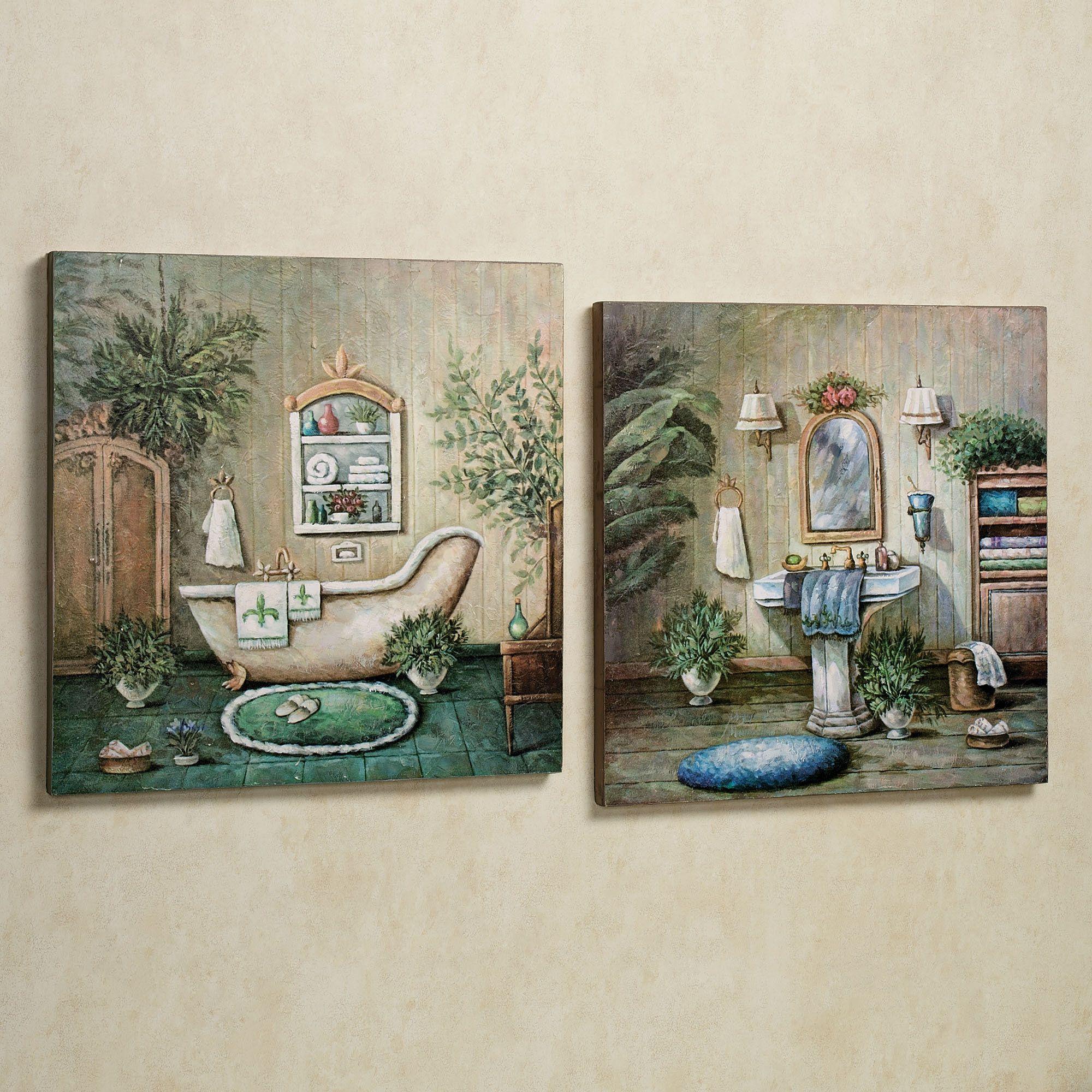 Blissful Bath Wooden Wall Art Plaque Set in 2019  Wall Decor  Bathroom wall decor Painting
