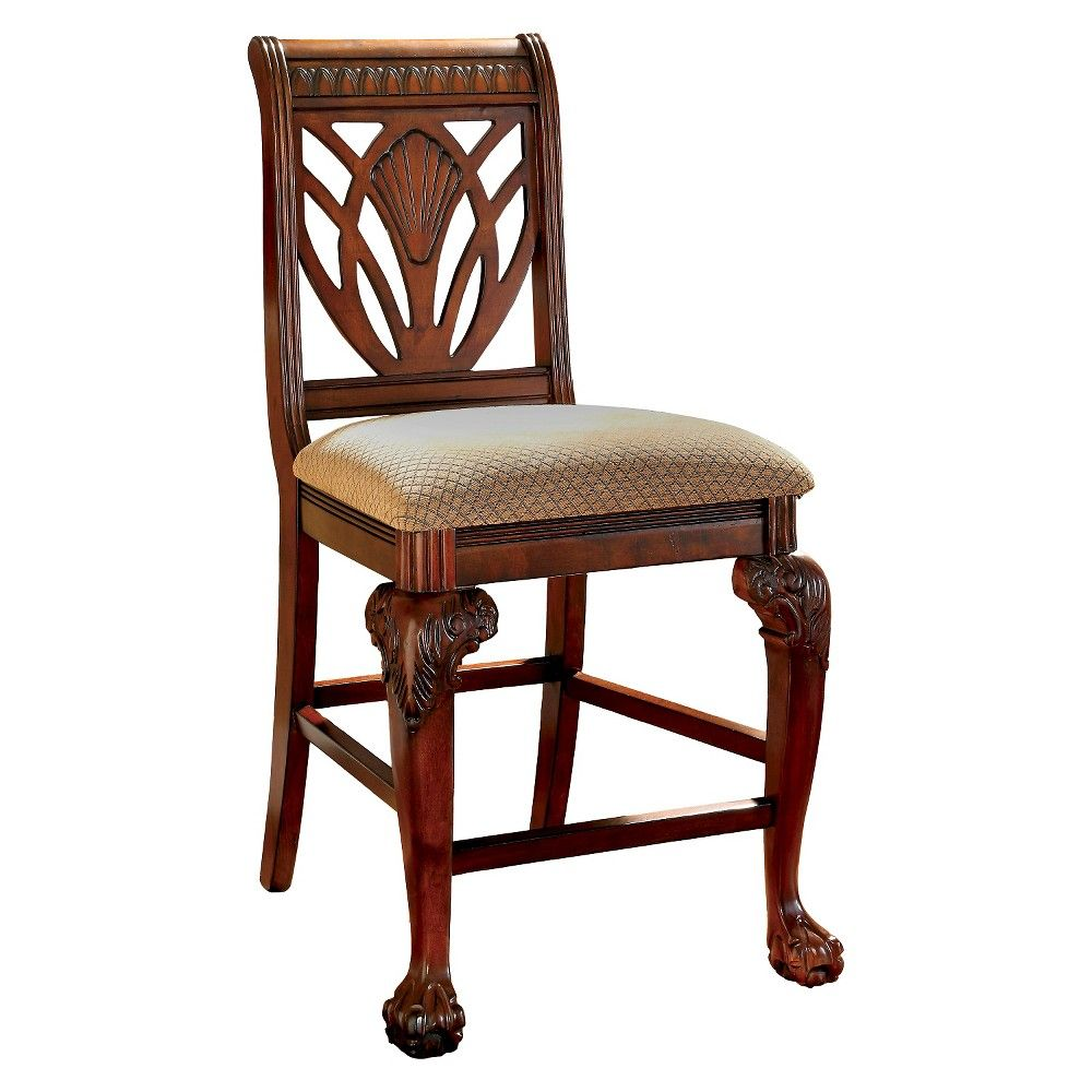 Sun u pine shell carved back with padded seat counter chair wood