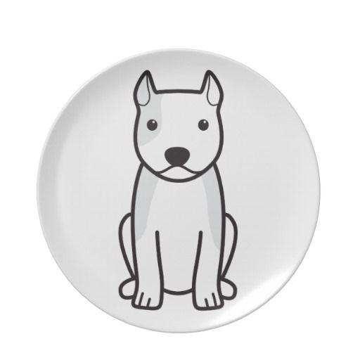 American Staffordshire Terrier Dog Cartoon Plate