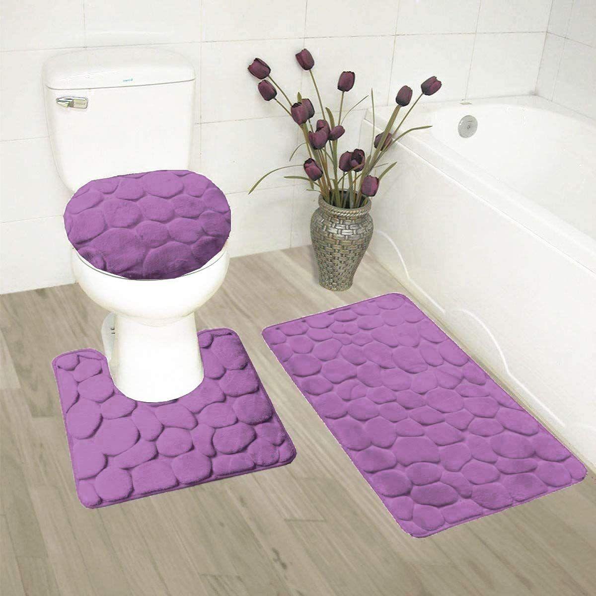 3pc Memory Foam Soft Bath Rug Set For Bathroom Non Slip Bath Mat Contour Mat Toilet Lid Cover Purple Bathroom Rug Memory Foam Bath Rugs Soft Bathroom Rugs [ 1200 x 1200 Pixel ]