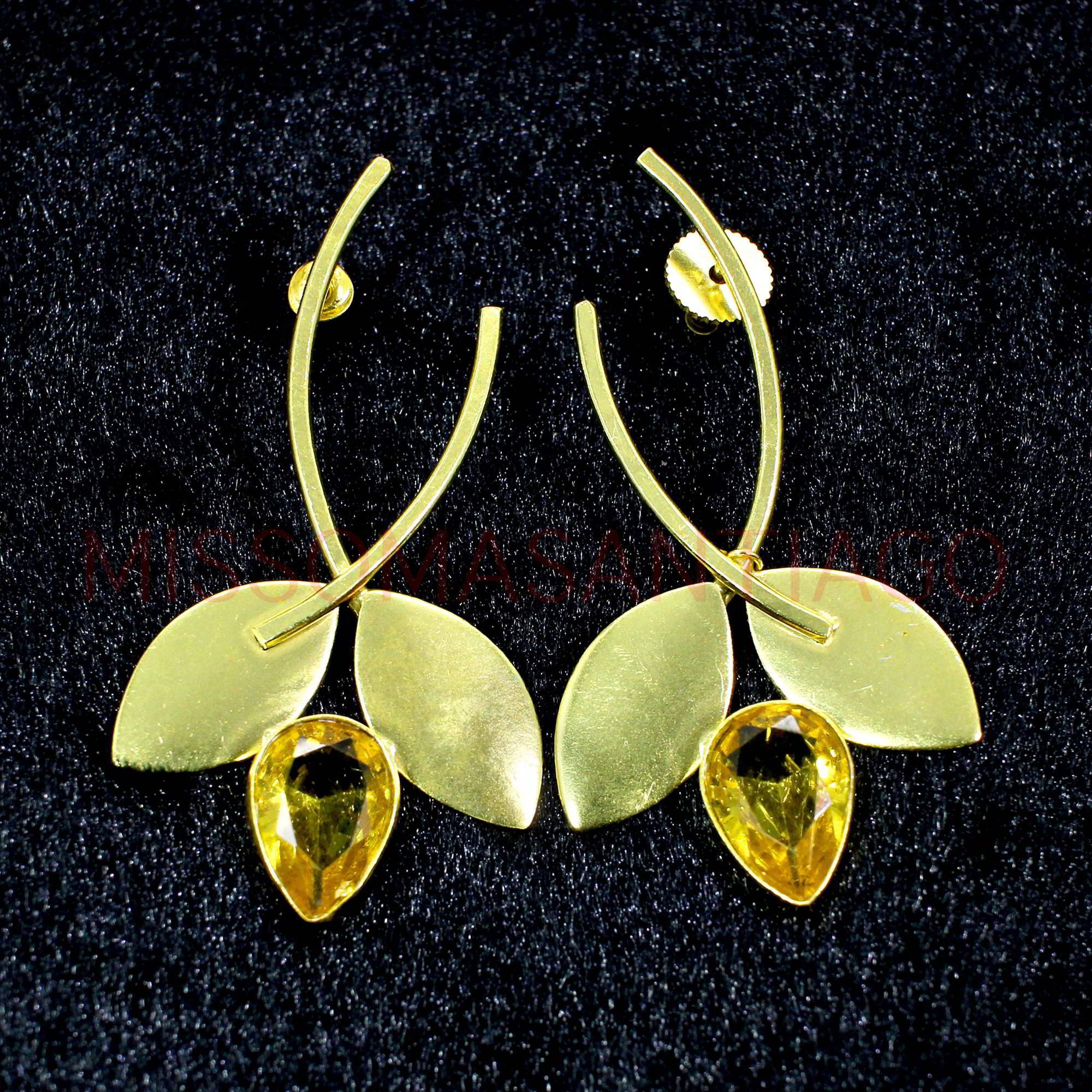 Gift Gold Plated Brass Jewelry Handmade Earrings With Stone Indian Jewelry Blue Stone Earrings Blue Quartz Earrings Textured Earrings
