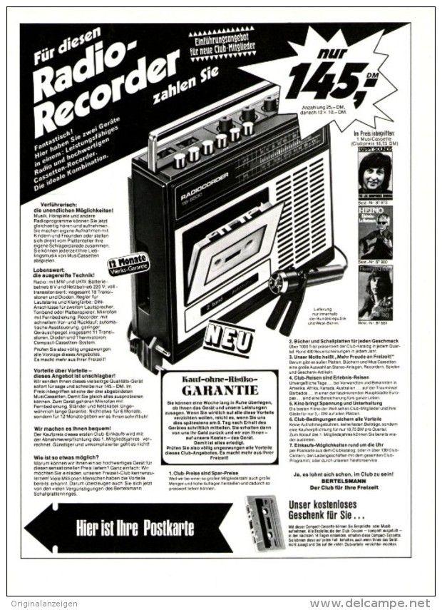 Original-Werbung/ Anzeige 1974 - 1/1 SEITE -RADIO-RECORDER / BERTELSMANN - ca. 180 x 240 mm