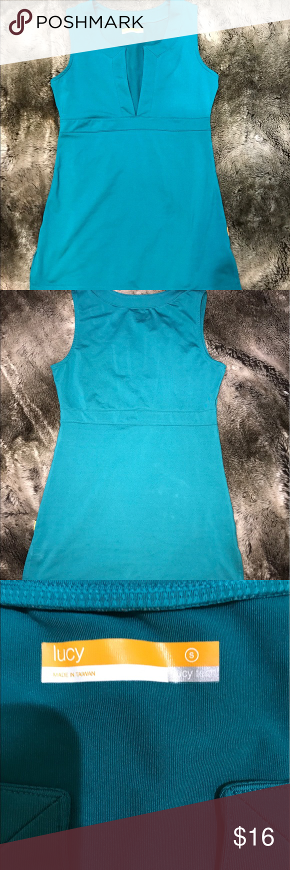 """Lucy Tech Yoga Teal Tank Great condition! Gently worn 2 times. There are some white lines on the tank that mirror the seams on the front side a price reflective 82%Polyester 18% Lycra Bust -16"""" Length -27.5 Lucy Tops Tank Tops"""
