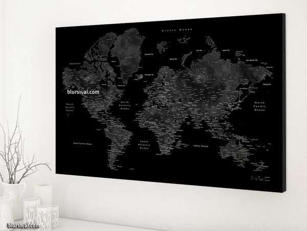 Grey and black world map with cities 36x24 canvas print or push grey and black world map with cities 36x24 canvas print or push pin map gumiabroncs Gallery