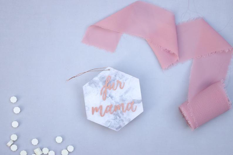 Fur Mama Gift Ornament Dog Lover Marble Acrylic Hexagon ...