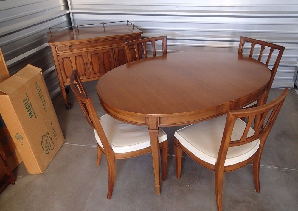 Exceptional Mid Century Modern Dining Set Drexel Triune Oval Table Server 4 Chairs  Heritage #Drexel #