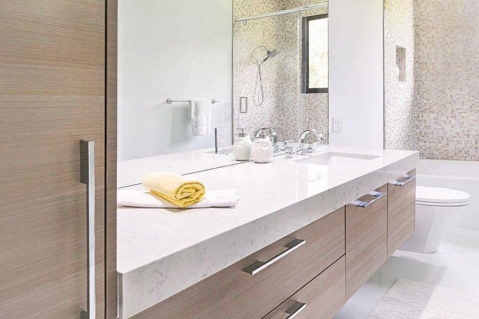 Delightful Pretty Bathroom Design With Modern Vanity, Marble Counter Top U0026 Awesome  Tiles