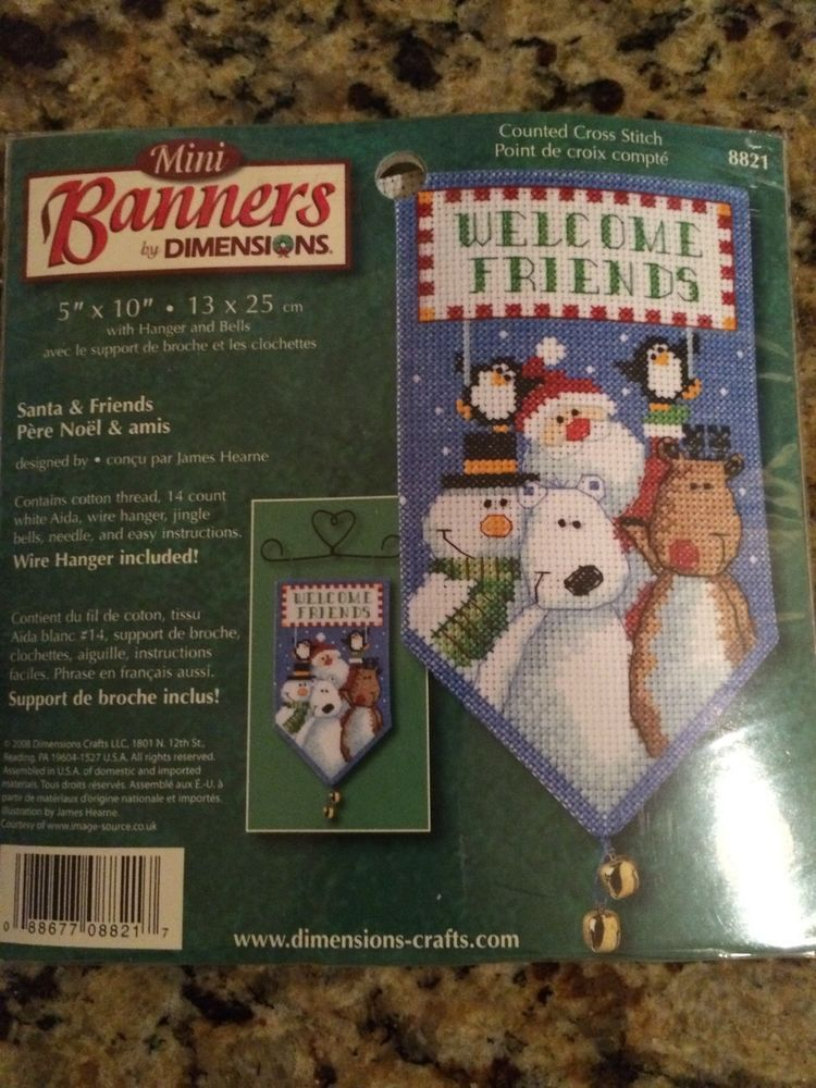 Dimensions Mini Banners Santa Friends Welcome Cross Stitch Kit