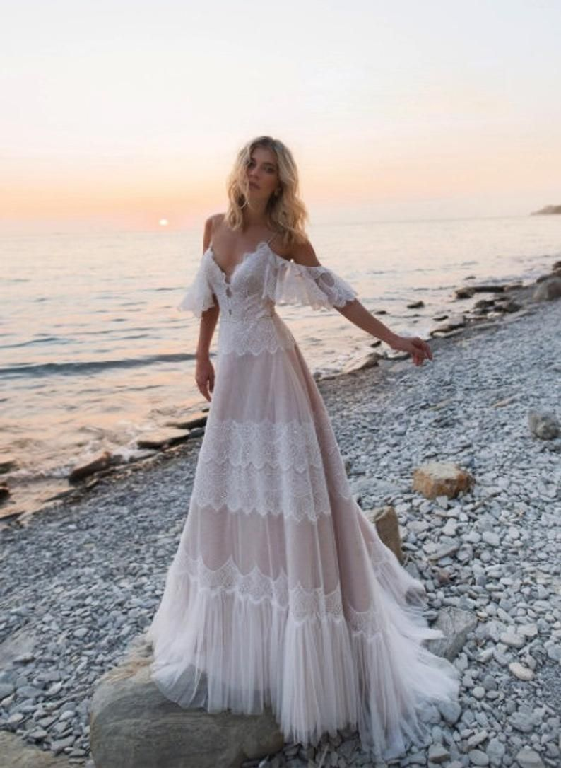 2020 Off Shoulder Wedding Dress with Lace Appliques, Sexy Backless Wedding Dresses, Beach A-Line Wedding Dress/137