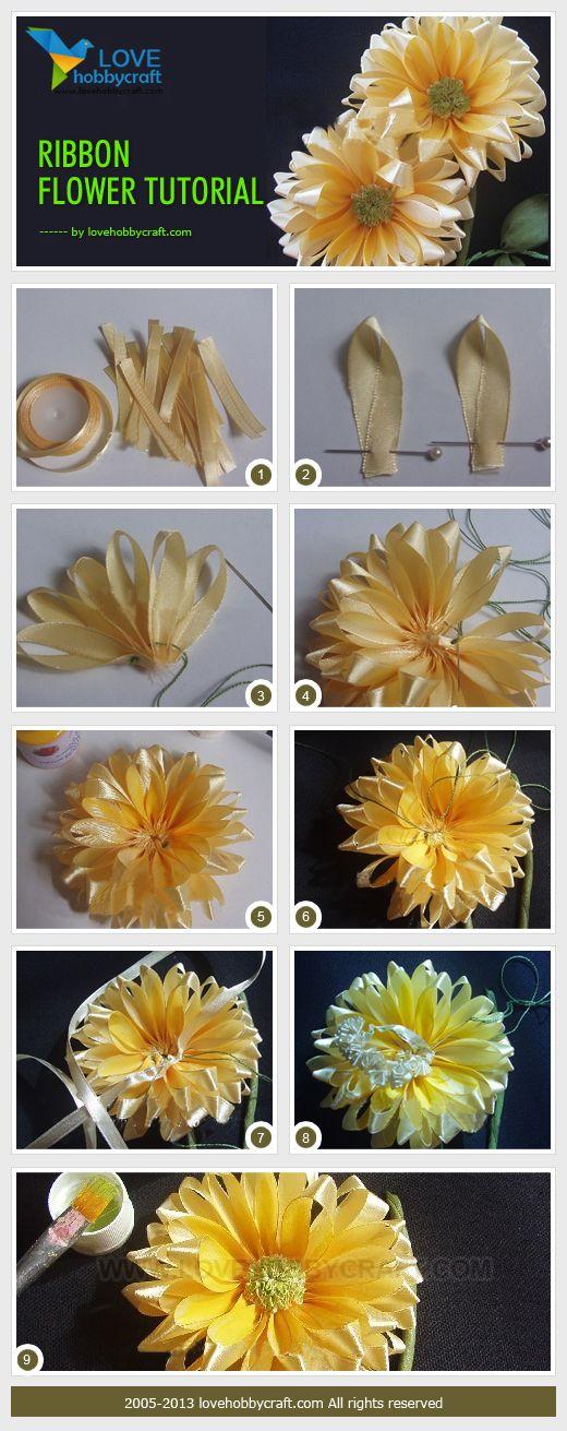 Tutorial para hacer una hermosa flor con cintas, ¡No te la pierdas! 3162821 Más #ribbonflower