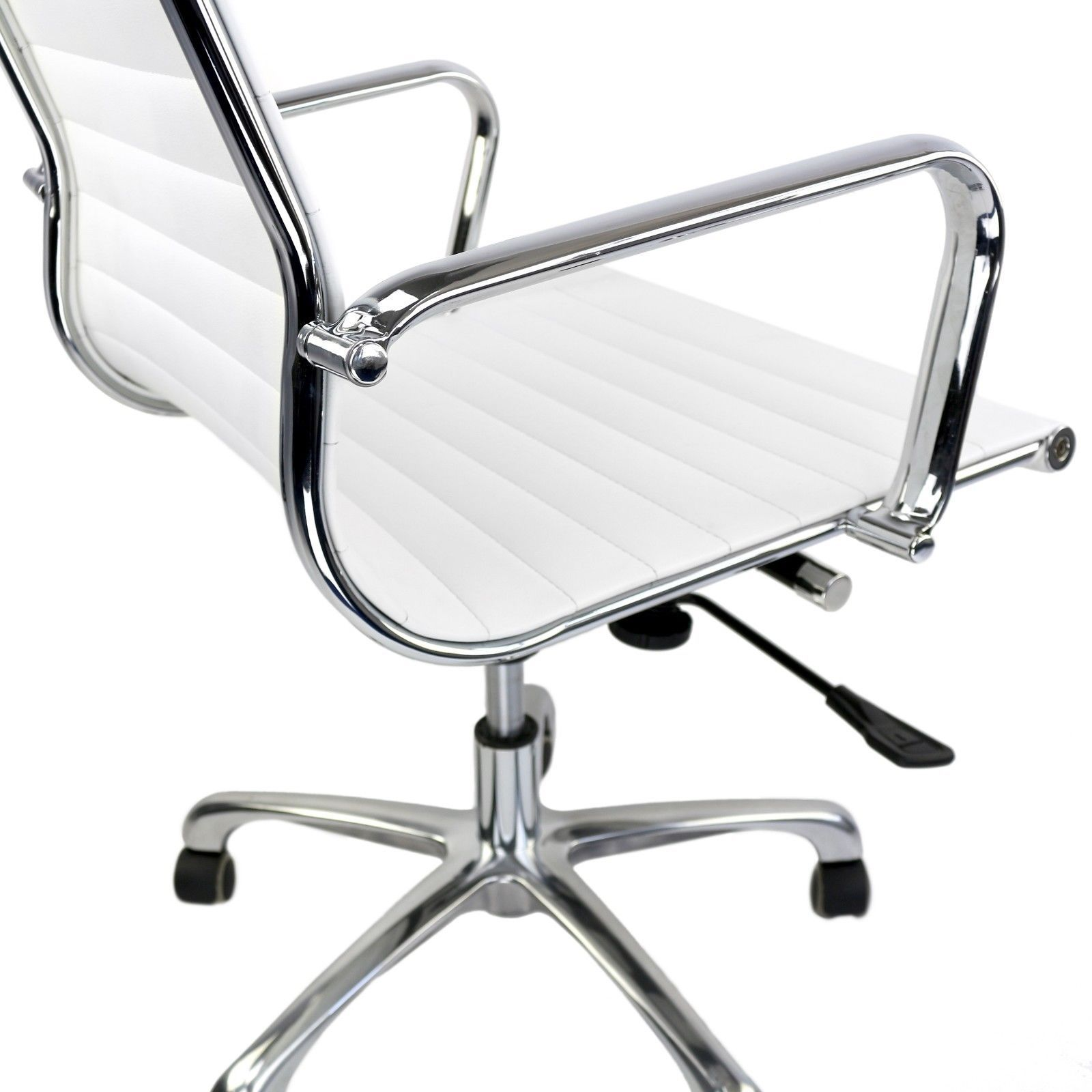 Ribbed Management Office Chair, Mid Low Back Eames Style