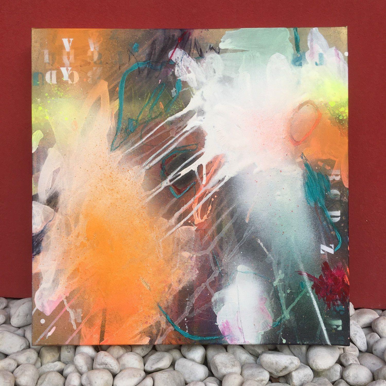 abstraktes Bild, orange, ausdrucksstark, auf Leinwand, moderne Kunst ...
