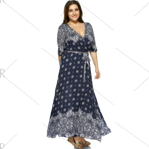 Plus Size Boho Print Flowy Beach Wrap Maxi Dress - Deep Blue ...