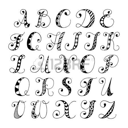 Sketch Hand Drawn Alphabet Black And White Font Letters Isolated Vector Illustration Stock