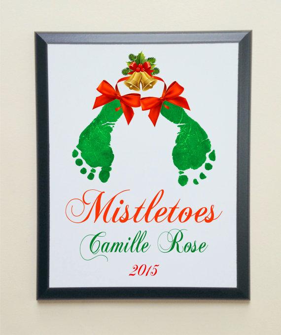 Holiday Mistletoes Keepsake Footprints by SpecialtyCreations4U #mistletoesfootprintcraft