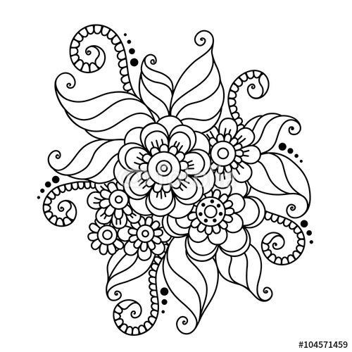 Vettoriale: Hand-Drawn Abstract Henna Mehndi Flower Ornament
