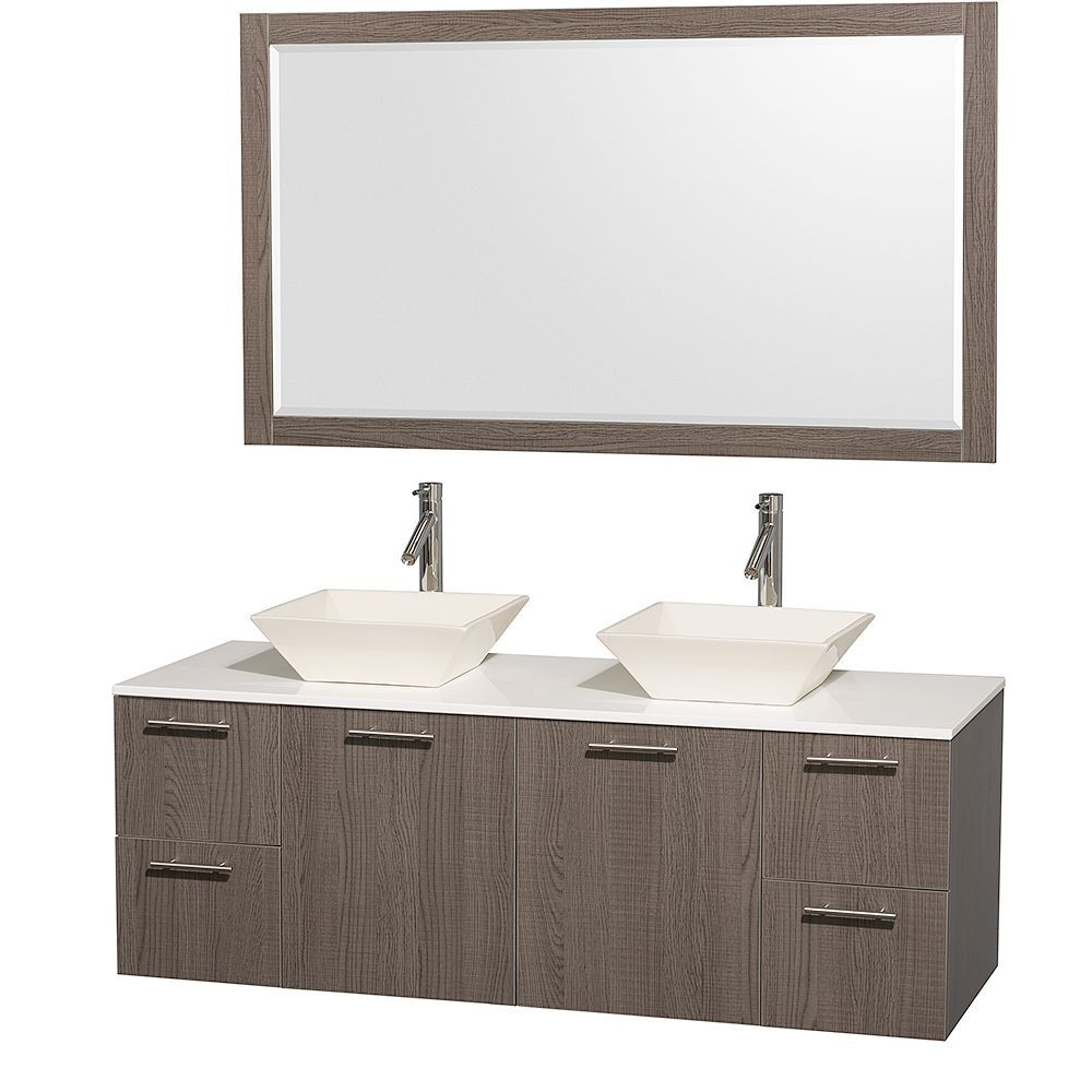 Amare 60 In. Double Vanity in Grey Oak with Man Made Stone Vanity Top in White and Porcelain Sinks