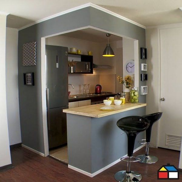 Cocina pequeña abierta Etiquetado apartamento Pinterest Cocina - cocinas pequeas minimalistas