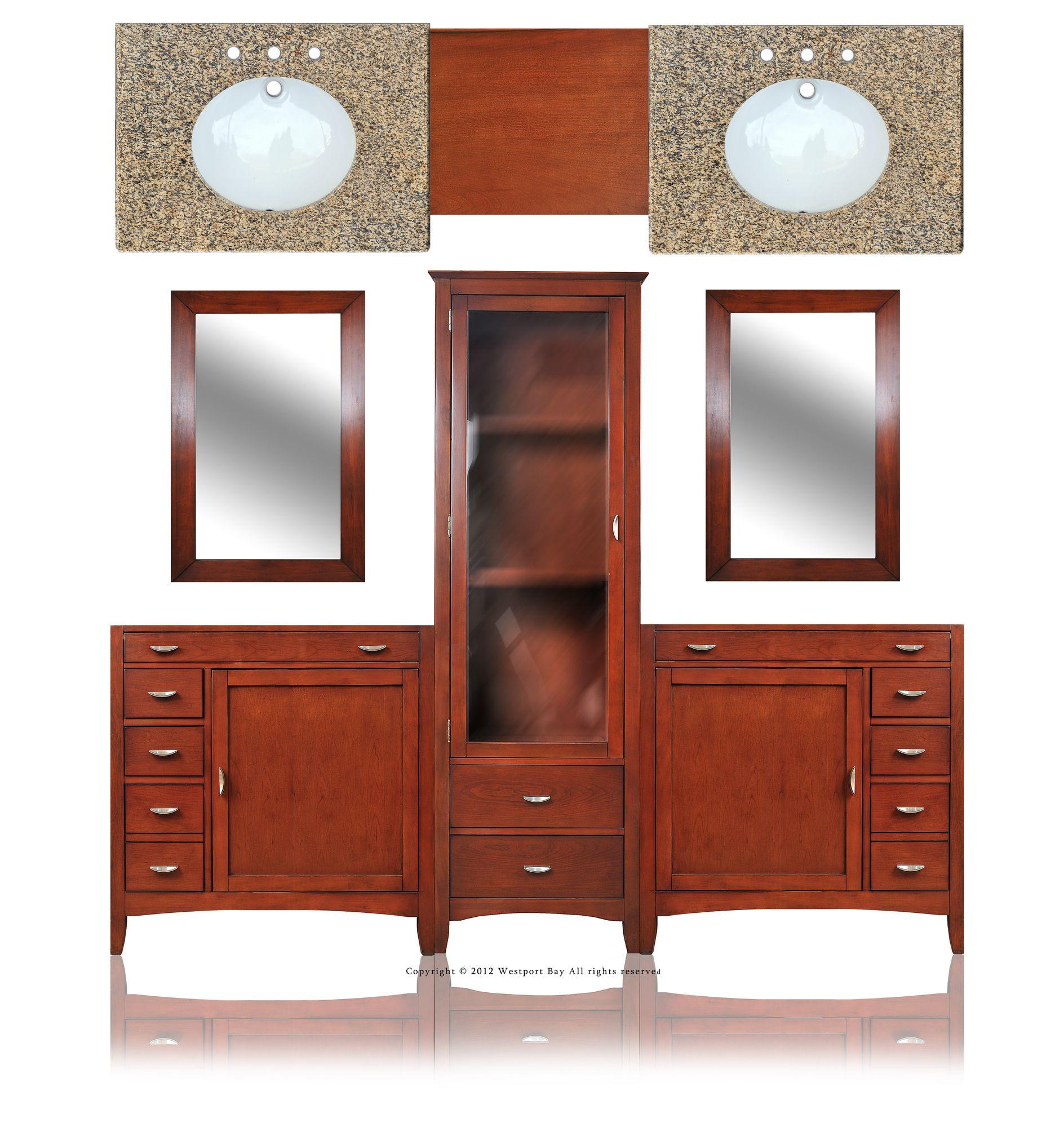 Westport Bay Metropolitan 122 Double Basin Vanity With 78 Linen Tower Vanity Set Double Basin Vanity